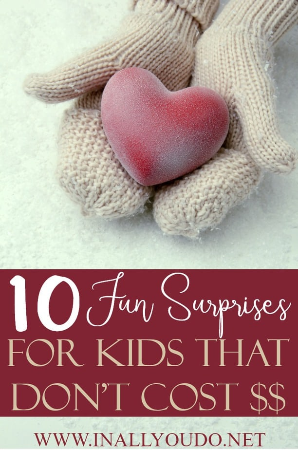 Surprises can come in all shapes and sizes, but that doesn't mean they have to cost an arm and a leg. You can still treat your kids to something fun without having to spend a dime! These 10 surprises are not only a ton of fun, but your kids will love them! #parents #parenting #moms #motherhood