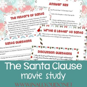 We absolutelylove the Santa Clause movie trilogy with Tim Allen. Enjoy the movies together as a family and then have the kids work through this fun movie study! #TheSantaClause #Christmas #moviestudy #homeschoolers