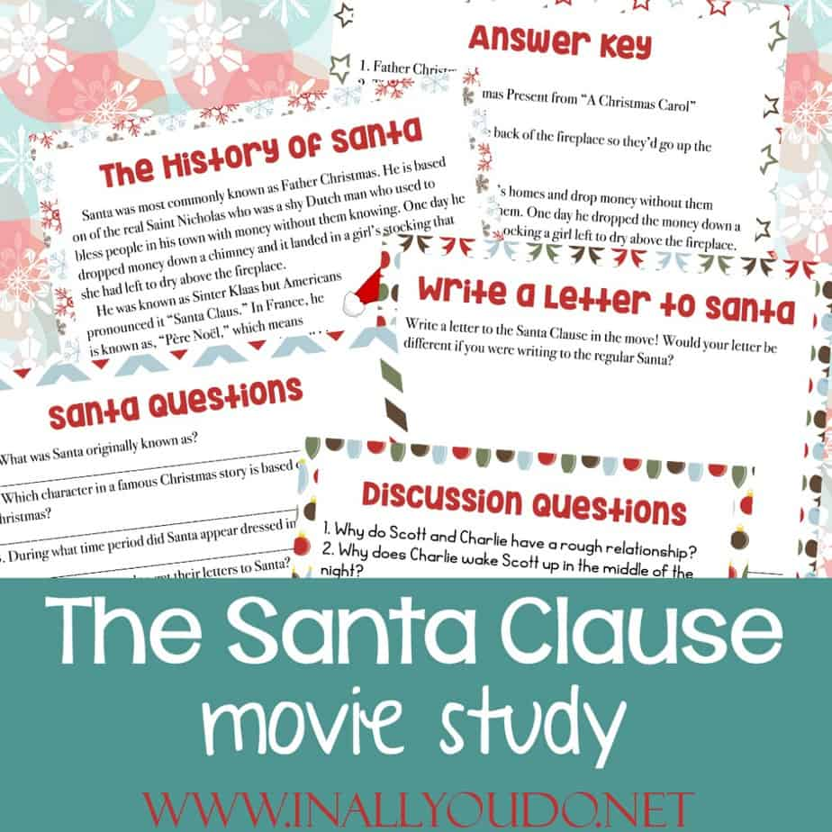 We absolutely love the Santa Clause movie trilogy with Tim Allen. Enjoy the movies together as a family and then have the kids work through this fun movie study! #TheSantaClause #Christmas #moviestudy #homeschoolers