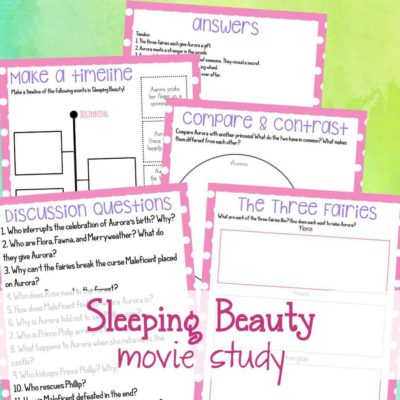 Movies can be so much more than just entertainment. Movie studies to help kids learn valuable skills they need for creative writing in afun, innovative way. If you have a princess fan, be sure to download the Sleeping Beauty Movie Study! #movies #moviestudy #sleepingbeauty #homeschooling #homeschool