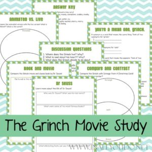 """The Grinch"" is one of my favorite Christmas movies. I love both the classic and the live-action remake. If your kids love them, they are sure to enjoy this movie study too! Plus I've gathered some delicious treats to help you host a watch party! #TheGrinch #GrinchWhoStoleChristmas #Christmas #Grinch #moviestudy"