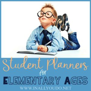 Help your kids learn how to track their assignments and take responsibility for their own schoolwork - even in elementary! Give them their own planner to start using! Try one of our student planners today! #planners #elementary #homeschooling #parents