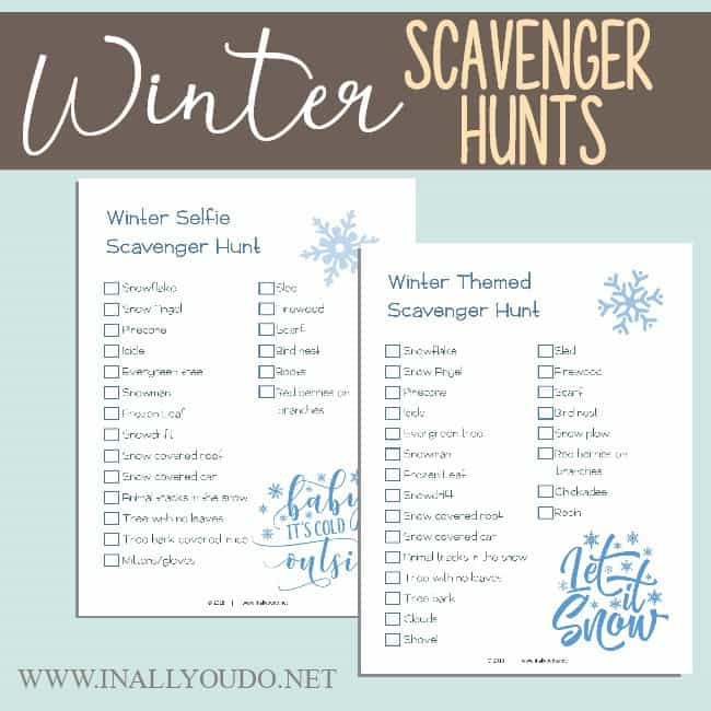 Most families spend more time inside during the winter months, which means you need some family-friendly activities everyone will enjoy! Check out some of ours and download a FREE Printable Winter Scavenger Hunt too! #family #winter #scavengerhunt #parents