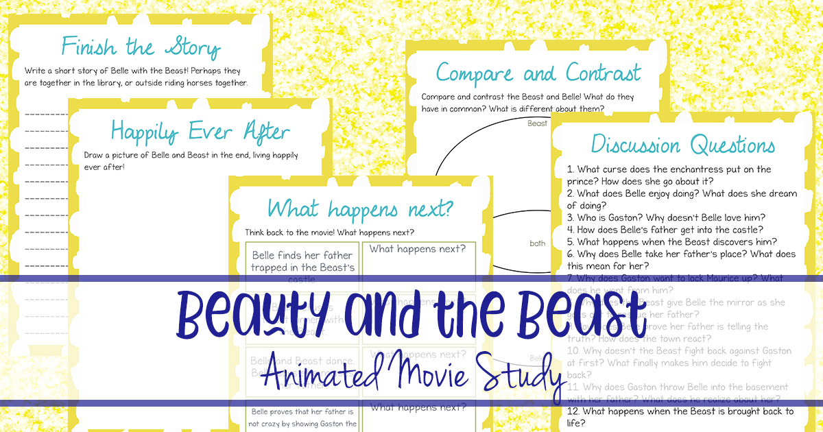 Beauty and the Beast is one of my all-time favorite animated movies. I love both the animated and the live-action versions of this movie. If your kids love the animated version, they are sure to love this movie study too! #moviestudy #movies #beauty&thebeast #homeschoolers