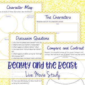 This Beauty and the Beast Movie Study includes 4 pages of activities related to the LIVE action movie. These activities are perfect for upper elementary kids, but could be a great starting point for older kids as they work on an essay or project on the movie. #movie #moviestudy #beautyandthebeast #homeschooling