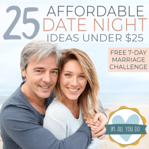 "married couple snuggling with overlay ""25 Affordable Date Night Ideas Under $25"""