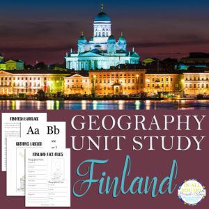 The Finland Unit Study covers both the alphabet and geography and includes fact files and notebooking pages, plus flashcards for vowels, consonants and dipthongs. #geography #Finland #notebooking #homeschoolers