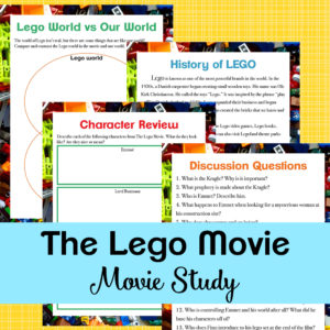 If your kids loveThe LEGO Movie, they will love working through this movie study based on the firstfilm (2014). This movie study is a fun way to bring some learning to your home through movies! #LEGO #movies #moviestudy #moviestudies #homeschool
