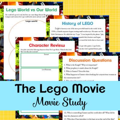 If your kids love The LEGO Movie, they will love working through this movie study based on the first film (2014). This movie study is a fun way to bring some learning to your home through movies! #LEGO #movies #moviestudy #moviestudies #homeschool