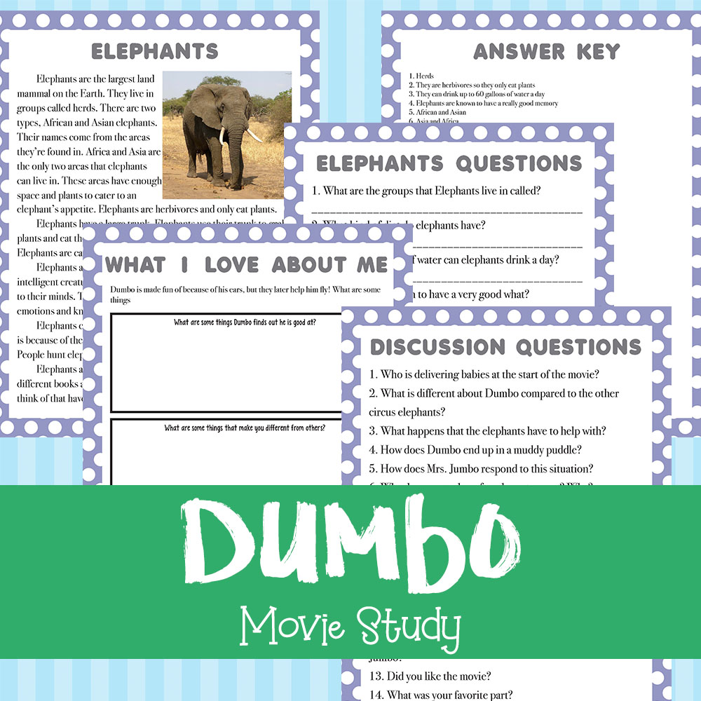 If your kids love the original Dumbo, they will love working through this movie study based on the original film. It includes 4 pages and is a fun way to bring some learning to your home through movies! #moviestudy #Dumbo #elephants #homeschooling