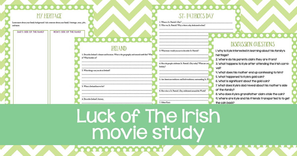 "Movie studies are a fun way to bring in some learning, while not being too stressful. This movie study for The Luck of the Irish includes discussion questions, a ""my heritage"" page, as well as St. Patrick's Day and Ireland pages. #StPatrick'sDay #Irish #moviestudy #iaydcommunity #iaydhsmoms #iaydhomeschoolers"