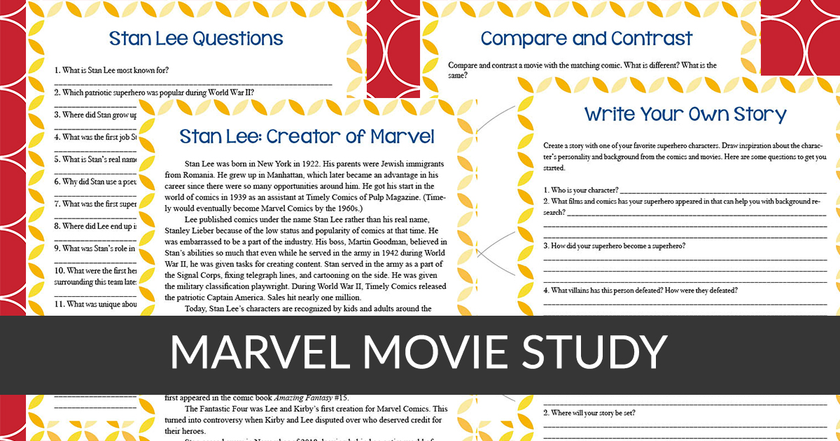 Do your kids love the Marvel movies? This Marvel Movie study is a generic study that can be used with any Marvel movie. Students can read and answer questions about the creator Stan Lee, create their own story about their favorite character and a compare/contrast page too. #moviestudy #iaydhsmoms #iaydhomeschoolers #iaydcommunity #Marvel