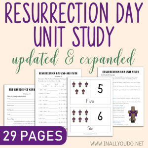 If you're looking to bring the focus back on Christ this Resurrection Day, don't miss this unit study. This Resurrection Day Unit Study includes Math, Science, Social Studies, Geography, Language Arts, Drama and Visual Arts! This is geared toward PreK-5th grades, but there are extra options in each section for older students. #ResurrectionSunday #Easter #iaydhomeschoolers #homeschoolers