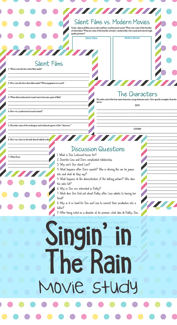 Whether you love musicals, old movies or justSinging in the Rain, this movie study is a fun addition to your studies. It is a classic movie musical with great humor, wonderful music and some of the best dancing you'll see. #moviestudy #SingingintheRain #iaydhomeschoolers #iaydcommunity #iaydhsmoms #homeschoolers