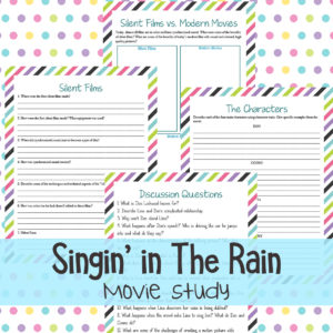 Whether you love musicals, old movies or just Singing in the Rain, this movie study is a fun addition to your studies. It is a classic movie musical with great humor, wonderful music and some of the best dancing you'll see. #moviestudy #SingingintheRain #iaydhomeschoolers #iaydcommunity #iaydhsmoms #homeschoolers