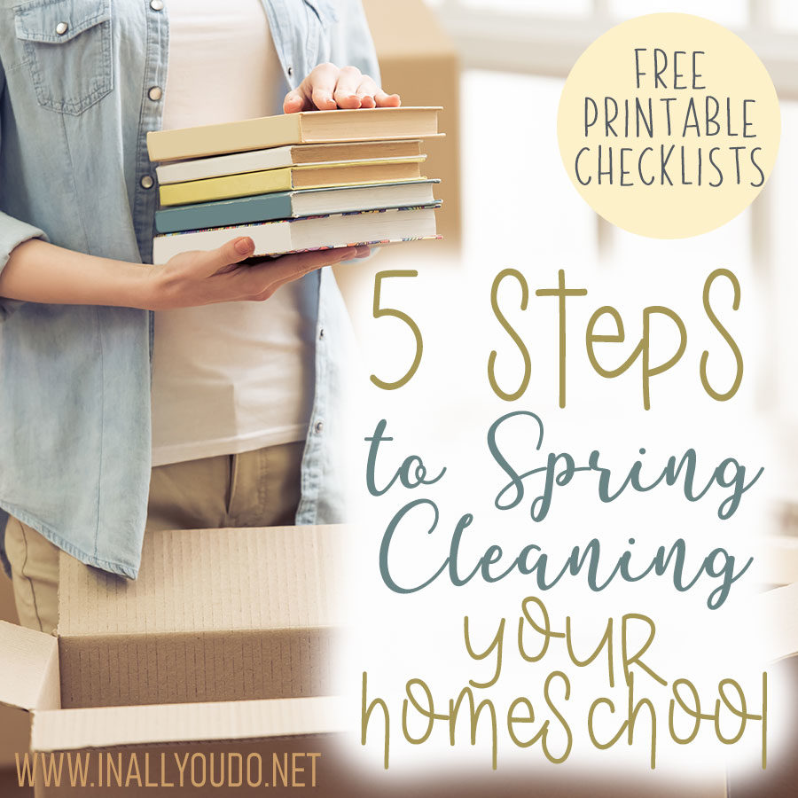 Spring cleaning isn't always a favorite task, but it has to be done, especially in our homeschool. Follow these 5 steps to get you started and help you survive spring cleaning your homeschool. #springcleaning #homeschool #homeschooling #iaydcommunity #iaydhomeschoolers #iaydhsmoms