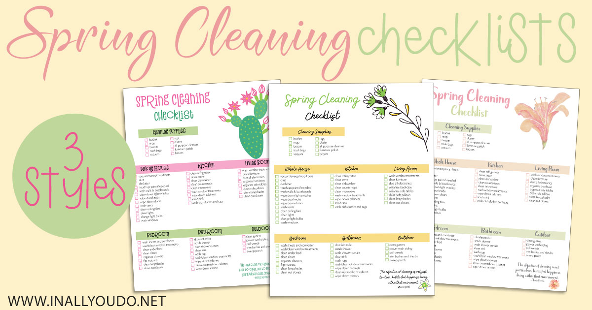 These Spring Cleaning Checklists are not exclusive to homeschooling, but they can help reach your goal of Spring cleaning greatness! Each list includes supplies you will need, plus a checklist for 6 different areas of your home. #springcleaning #homeschooling #iaydcommunity #iaydhomeschoolers #homeschoolers