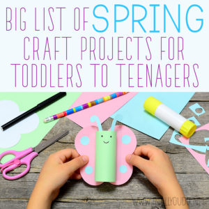 Now is a great time to gather a few fun, spring-themed crafts to do with with your children throughout the spring season. This big list of spring craft projects for toddlers to teenagers will help you meet the needs of each and every one! #spring #crafts #toddlers #teens #iaydhomeschoolers #iaydhsmoms #iaydcommunity