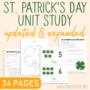 Teach your kids about St. Patrick, the man, as well as how the holiday has evolved over the years into what we see today. This unit covers language arts, geography,science, math, visual arts and more for kids PreK-5th grade. #StPatricksDay #homeschoolers #iaydcommunity #iaydhsmoms #iaydhomeschoolers