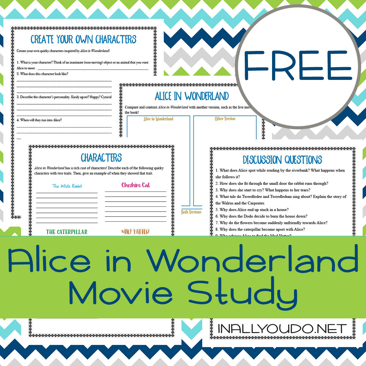 Alice in Wonderland is a classic and a favorite movie for many children (and adults). Now you can add a little fun to your next movie night with this movie study! This is geared toward elementary ages, but could easily be adapted for middle schoolers too. #AliceinWonderland #moviestudy #movies #iaydhomeschoolers #iaydhsmoms