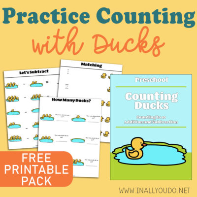 Learning to count is a basic skill that needs to be mastered in the early years. Preschoolers will love working through this adorable ducks counting printable pack. They will practice numbers up to 10, simple addition and subtraction. #preschool #preschoolers #math #iaydhomeschoolers #iaydhsmoms #iaydcommunity