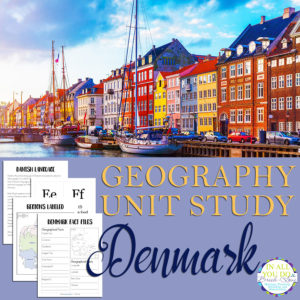 The Denmark Unit Study covers both the alphabet including basic information about their native language and geography.  It also includes fact files and notebooking pages, as well flashcards for vowels and consonants. #geography #unitstudy #iaydcommunity #iaydhsmoms #iaydhomeschoolers