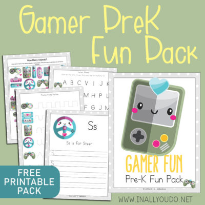 The Gamer PreK Fun Pack includes 18 pages of activities that will help your little ones with handwriting, letters, numbers to 20 and more through fun handwriting pages, matching, puzzles and more. #homeschoolers #prek #preschool #iaydhomeschoolers