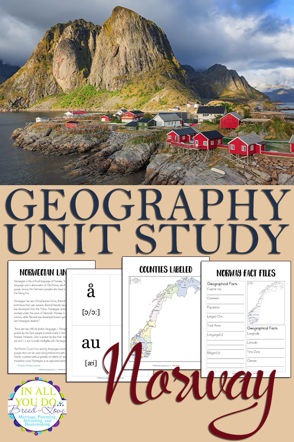 The Norway Unit Study covers both the alphabet including basic information about their native language and geography.  It also includes fact files and notebooking pages, as well flashcards for vowels and consonants. This is a great supplement to a world geography unit or alongside a European study! #geography #Norwegian #homeschoolers #iaydhomeschoolers #iaydhsmoms