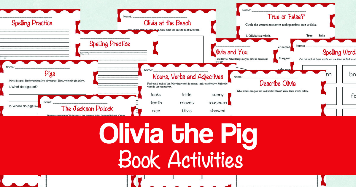 """If your kids love the """"Olivia the Pig"""" book series, they will have fun with this book activities pack! It is a fun printable companion to the first book in the series and includes 11 pages of activities! Inside you'll find reading comprehension questions, parts of speech review, spelling/handwriting, art/drawing, writing prompts, a page to research about pigs, a compare and contrast exercise and much more! #reading #homeschoolers #iaydhomeschoolers #iaydhsmoms"""