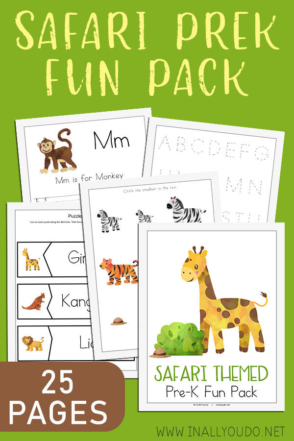 The Safari Theme Pre-K Fun Pack includes 25 pages of activities to help improve handwriting, fine motor skills, counting, matching and much more! You'll find hands-on activities, such as puzzles and a roll-a-graph worksheet. The best part? You can laminate almost every since page in this pack and used them over and over! #preschool #preschoolers #prek #iaydhomeschoolers