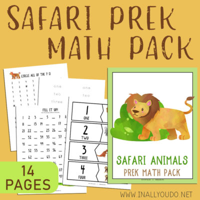 The Safari Themed Pre-K Math Pack includes 14 pages of activities to help your little ones work on their math skills. This pack contains graphing exercises, 11 different puzzles, counting practice to 100, number words, tracing and number recognition pages (1-10). #math #preschool #prek #iaydhomeschoolers #homeschoolers