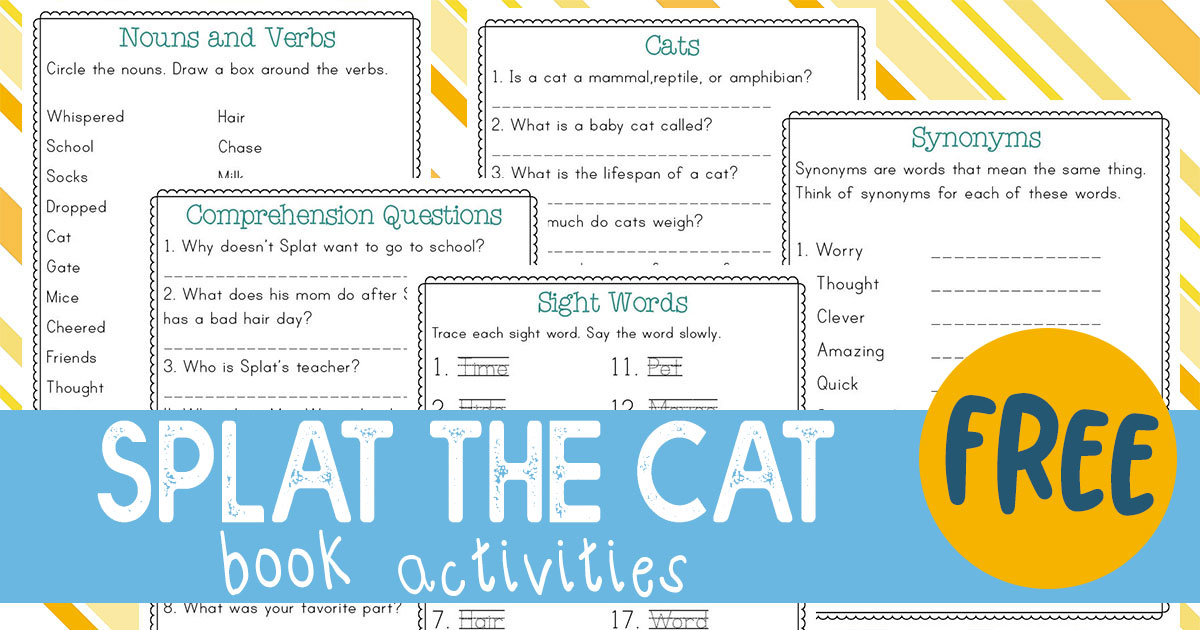This Splat the Cat book activities pack is a fun printable companion to the original book. The five pages of  activities include reading comprehension questions, parts of speech (nouns and verbs), synonyms, sight words and a page to research about cats. #reading #splatthecat #iaydhomeschoolers #homeschoolers