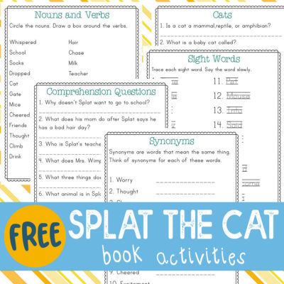 ThisSplat the Cat book activities pack is a fun printable companion to the original book. The five pages of activities include reading comprehension questions, parts of speech (nouns and verbs), synonyms, sight words and a page to research about cats. #reading #splatthecat #iaydhomeschoolers #homeschoolers