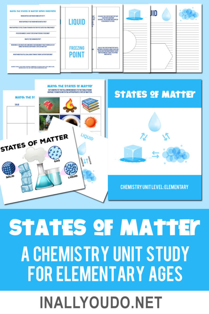 There are three primary states of matter for kids to research and learn about - solid, liquid and gas. Use this printable pack as they study, research and experiment with the different states of matter. This pack includes a poster page, matching activity, flashcards, and notebooking pages. #science #statesofmatter #printables #iaydhomeschoolers