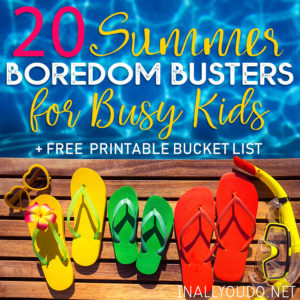 How do you keep your kids busy when school's out? Are there certain games or crafts that can keep your kiddos occupied for hours? Try one of these twenty ideas to bust their boredom or print out this FREE bucket list. There is a prefilled one and a blank one to use as you want! #summer #bucketlist #summerbucketlist #iaydhomeschoolers