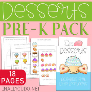The Desserts Activity Pre-K Pack includes 18 pages of activities to help improve handwriting, color matching, counting, fine motor skills, matching fun, riddles, and drawing! The best part? You can laminate many of the pages in this pack and used them over and over! #prek #preschool #preschoolers #iaydhomeschoolers #iaydhsmoms