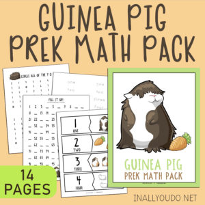 The Guinea Pig Pre-K Math Pack includes 14 pages of activities to help your little ones work on their math skills. This pack contains graphing exercises, 11 different puzzles, counting practice to 100, number words, tracing and number recognition pages (1-10). #math #prek #homeschoolers #iaydhomeschoolers