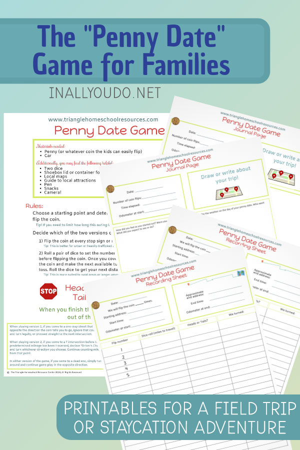 "Have you ever heard of a ""penny date""? Whether you're setting out for a homeschool field trip, or just a family fun day, these pages will help keep your kids engaged, and give them a souvenir that doesn't involve a gift shop. Download your 5-page printable pack FREE for a limited time and start making memories! #homeschoolers #fieldtrip #homeschooling #staycation #iaydhomeschoolers"