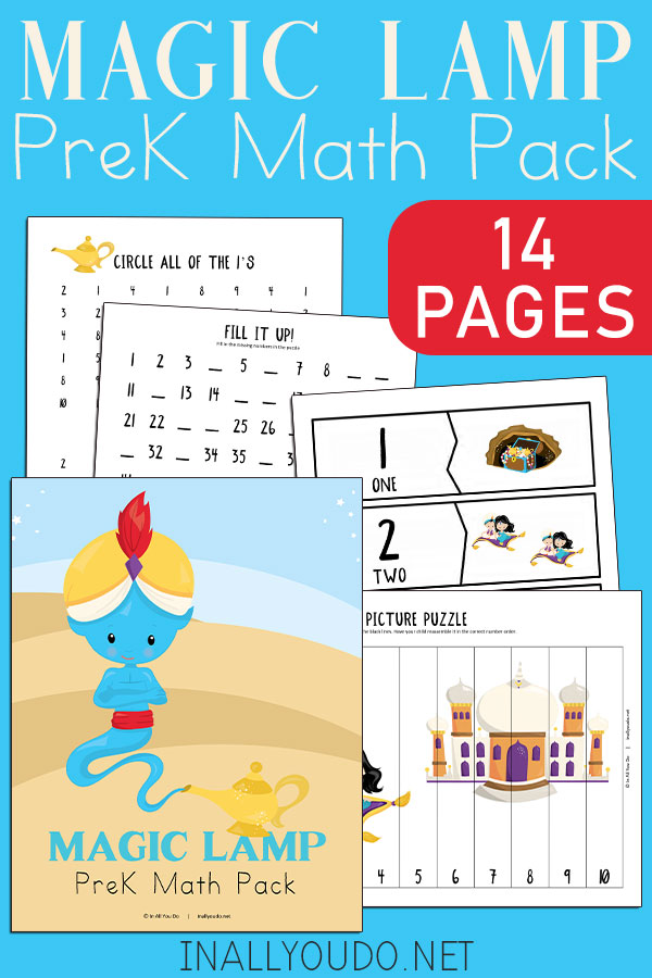 The Magic Lamp Pre-K Math Pack includes 14 pages of activities to help your little ones work on their math skills. This pack contains graphing exercises, 11 different puzzles, counting practice to 100, number words, tracing and number recognition pages (1-10). #math #preschool #prek #Aladdin #homeschoolers #iaydhomeschoolers