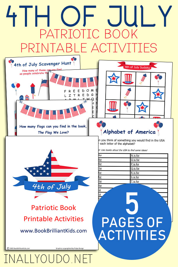 Can't you just imagine how much fun your kids will have with these 4th of July books and printables? In this printable pack, you will also find a USA Sudoku puzzle, as well as something kids can't resist: Our 4th of July Scavenger Hunt! #patriotic #4thofJuly #homeschoolers #reading #iaydhomeschoolers