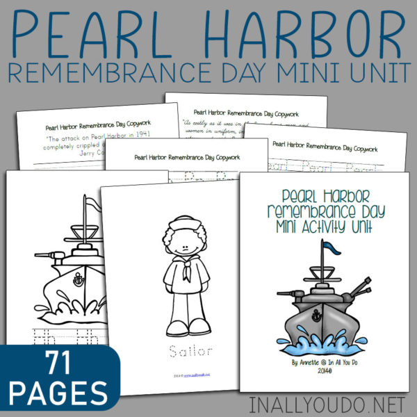 Pearl Harbor Rememberance Day is Dec 7th. This mini activity unit includes Coloring Pages, Copywork and Word Searches! With 71 TOTAL PAGES, you'll have a great start to learning more about the history of the bombing on Pearl Harbor. #history #PearlHarbor #iaydhomeschoolers #iaydhsmoms