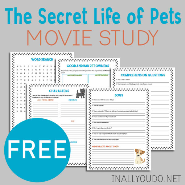 Why not turn your next movie day into some learning fun too! Movie studies are the perfect way to sprinkle in a little fun learning while enjoying some of your favorite movies! This movie study forThe Secret Life of Pets includes 5 pages of activities for elementary kids. #moviestudy #movies #homeschoolers #iaydhomeschoolers