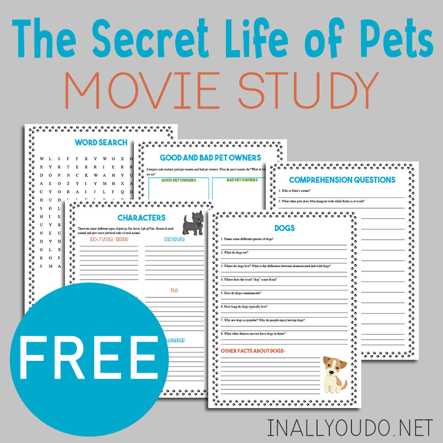Why not turn your next movie day into some learning fun too! Movie studies are the perfect way to sprinkle in a little fun learning while enjoying some of your favorite movies! This movie study for The Secret Life of Pets includes 5 pages of activities for elementary kids. #moviestudy #movies #homeschoolers #iaydhomeschoolers