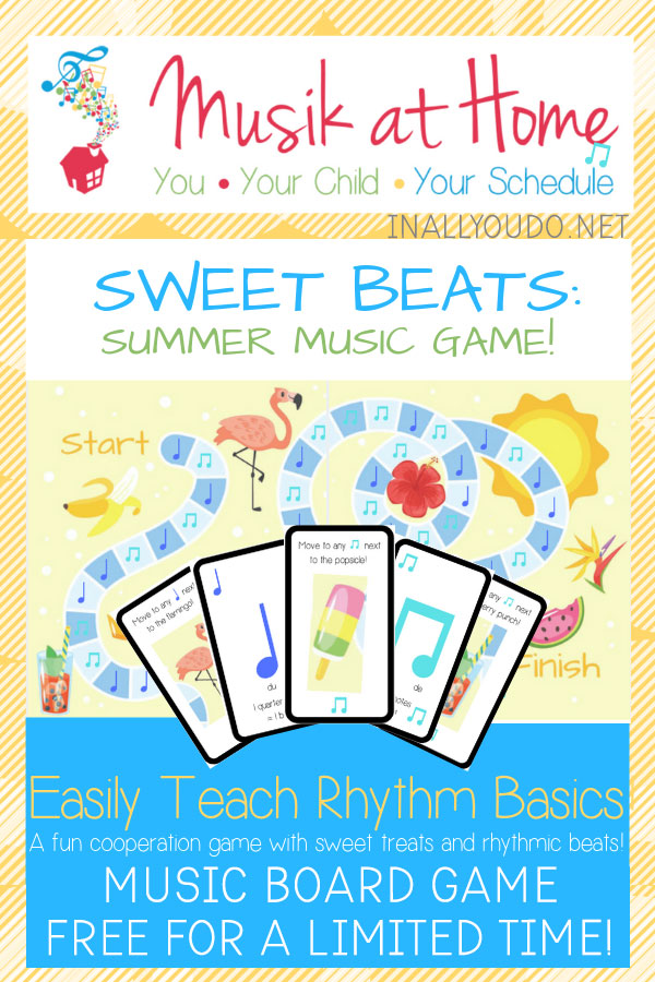 "Do your kids love to play games? Gameschooling through the summer is a great way to mix fun and education together while enjoying all that the summer has to offer!  Combine music education and gameschooling with the ""Sweet Beats: Summer Music Game"". Download it FREE for a Limited Time only! #gameschool #summer #hsfreebies #limitedtime #iaydhomeschoolers"
