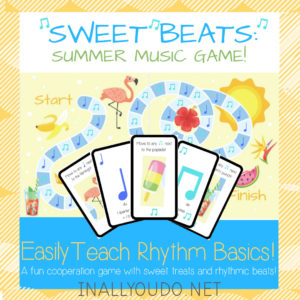 """Do your kids love to play games?Gameschooling through the summer is a great way to mix fun and education together while enjoying all that the summer has to offer! Combine music education and gameschooling with the """"Sweet Beats: Summer Music Game"""". Download it FREE for a Limited Time only! #gameschool #summer #hsfreebies #limitedtime #iaydhomeschoolers"""