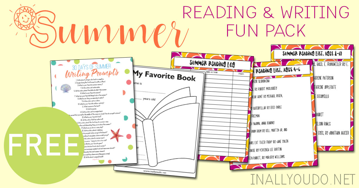 This Summer Reading & Writing Fun Pack is a fun printable companion just in time for summer. It includes 7 pages of reading and writing activities. Inside you'll find a reading log, reading lists for ages 4-12, a simple book report form and a summer writing prompt list! #reading #summer #homeschooling #iaydhomeschoolers