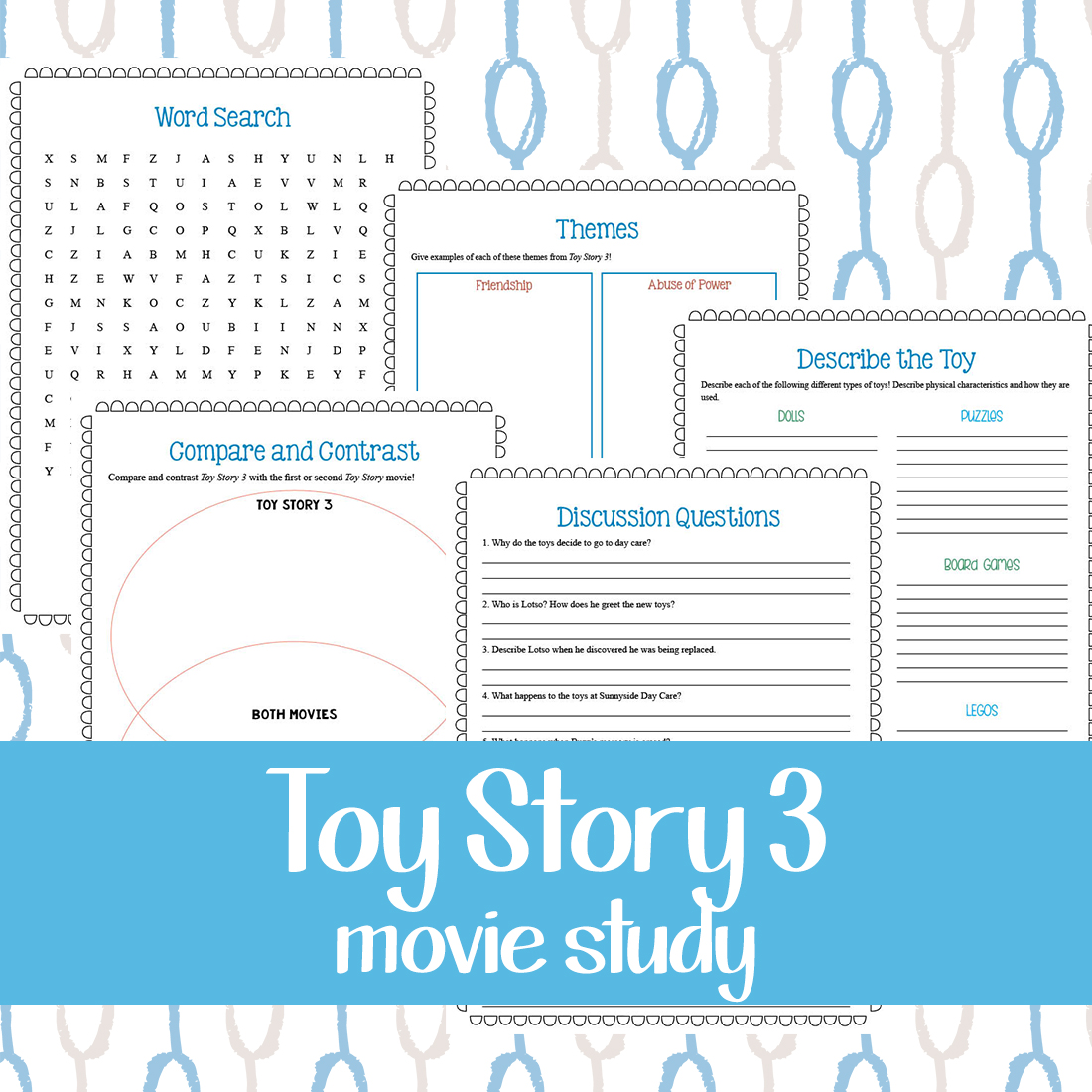 This movie study for Toy Story 3 is a fun way to add some additional learning to your movie day! This printable pack includes 5 pages of activities such as discussion questions, a word search page, description page, a compare/contrast page and a theme page for the movie. #moviestudy #movies #ToyStory3 #iaydhomeschoolers