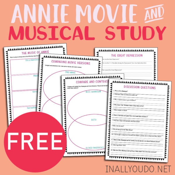 Annie is one of my favorite musicals and my kids have fallen in love with it as well. And not just the original 1982 version, based on the Broadway musical, but also the 2014 remake too. This printable Movie Study is a great way to help them view the movies in a different way and learn to think more critically while they watch. #AnnietheMovie #moviestudy #musicalstudy #iaydhomeschoolers