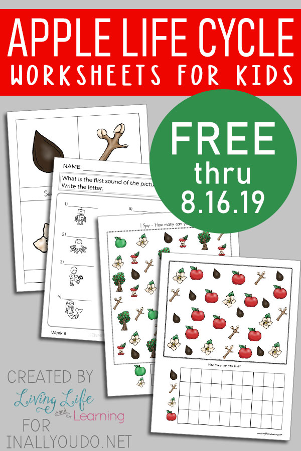 This apple tree workbook is perfect for your young learner to not only learn about apple trees but to also practice other skills in the process. #apples #hsfreebies #iaydhomeschoolers #iaydhsmoms