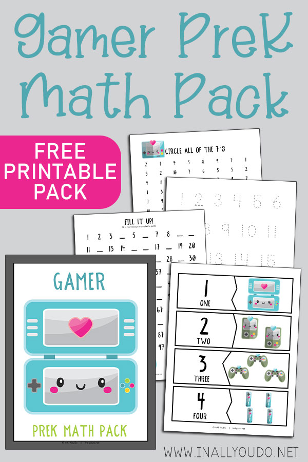 The Gamer Themed Pre-K Math Pack includes 14 pages of activities to help your little ones work on their math skills. This pack contains graphing exercises, 11 different puzzles, counting practice to 100, number words, tracing and number recognition pages (1-10).  #math #preschoolers #prek #iaydhomeschoolers